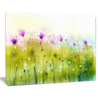 Design Art Green Purple Abstract Cosmos Of Flowers Canvas Wall Art