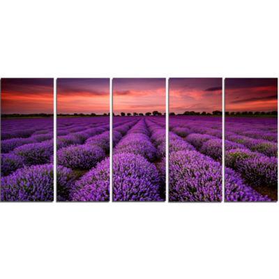 Design Art Red Sunset Over Lavender Field Wall Art Landscape - 5 Panels