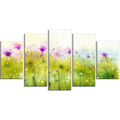 Design Art Green Purple Abstract Cosmos Of Flowers Canvas Wall Art - 5 Panels