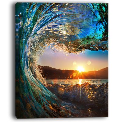 Designart Colored Ocean Waves Falling Down ModernSeashore Canvas Art