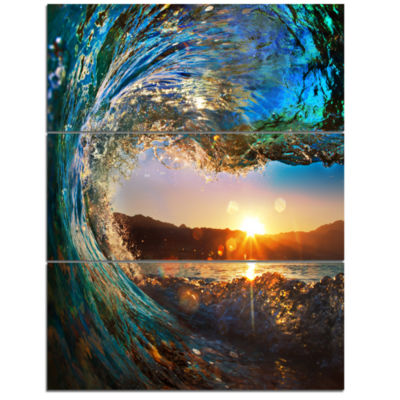 Design Art Colored Ocean Waves Falling Down Modern Seashore Canvas Art - 3 Panels