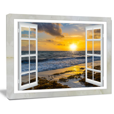 Designart Open Window To Bright Yellow Sunset Modern Seascape Canvas Artwork