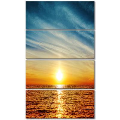 Design Art Brilliant Texture Of Sea Currents Beach Canvas Artwork - 4 Panels