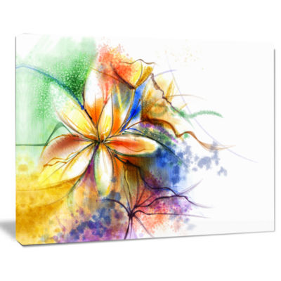 Designart Abstract Multi Color Flower Fusion Flower Canvas Wall Art