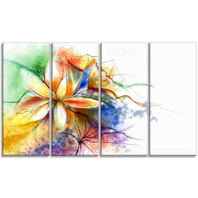 Designart Abstract Multi Color Flower Fusion Flower Canvas Wall Art - 4 Panels