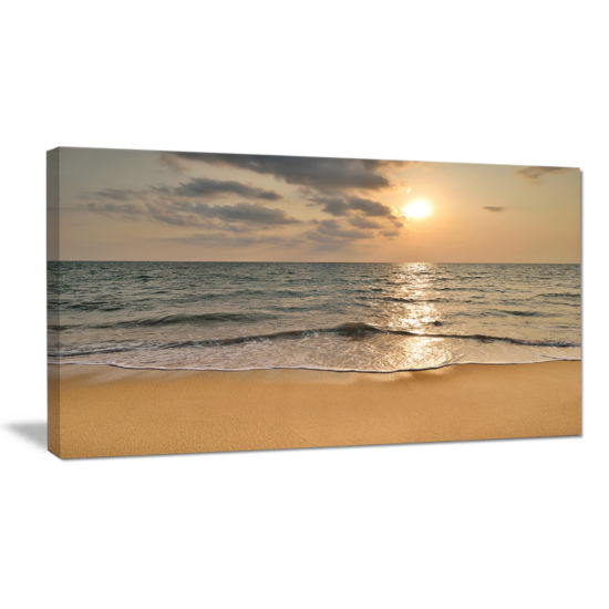 Designart Dark Tropical Sand Beach At Sunset Modern Seascape Canvas Artwork