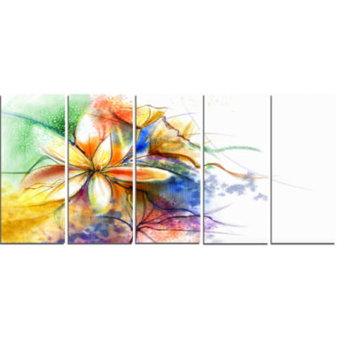 Design Art Abstract Multi Color Flower Fusion Flower Canvas Wall Art - 5 Panels