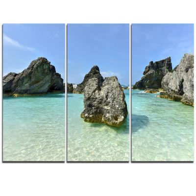 Design Art Horseshoe Bay Cove Bermuda Beach Canvas Artwork - 3 Panels