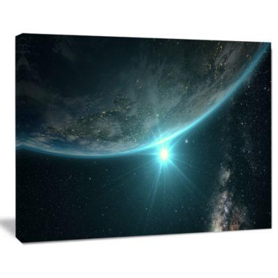 Designart Sunrise In Earth From Space ContemporaryLandscape Canvas Art