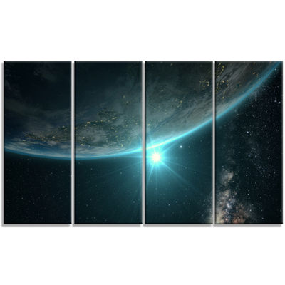 Design Art Sunrise In Earth From Space Contemporary Landscape Canvas Art - 4 Panels