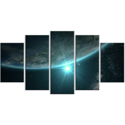 Designart Sunrise In Earth From Space ContemporaryLandscape Canvas Art - 5 Panels