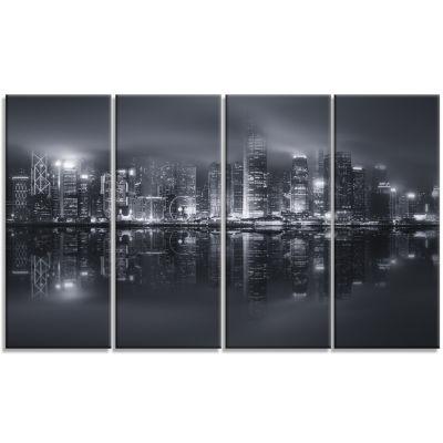 Designart Hong Kong Black And White Skyline Cityscape Canvas Art Print - 4 Panels