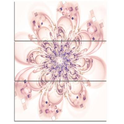 Design Art Full Bloom Fractal Flower In Pink Canvas Wall Art - 3 Panels