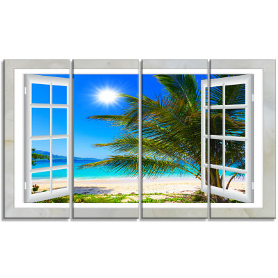 Designart Window Open To Beach With Palm SeashoreCanvas Art - 4 Panels