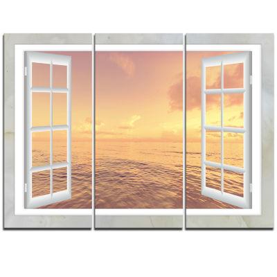 Designart Open Window To Brown Seashore Canvas Art- 3 Panels