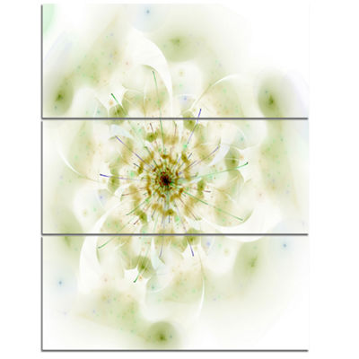 Design Art Full Bloom Fractal Flower In White Canvas Wall Art - 3 Panels