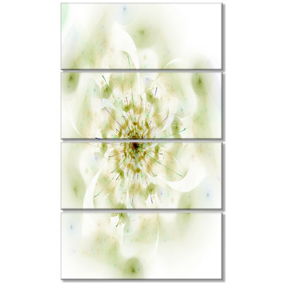Design Art Full Bloom Fractal Flower In White Canvas Wall Art - 4 Panels