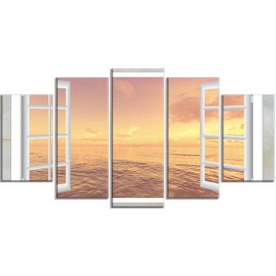 Design Art Open Window To Brown Seashore Canvas Art- 5 Panels
