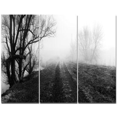 Designart Black And White Misty Landscape PanoramaLandscape Canvas Art Print - 3 Panels