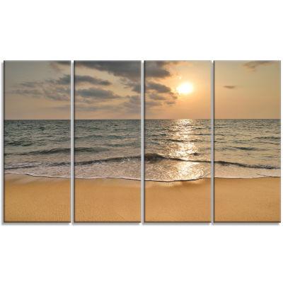 Design Art Dark Tropical Sand Beach At Sunset Modern Seascape Canvas Artwork - 4 Panels