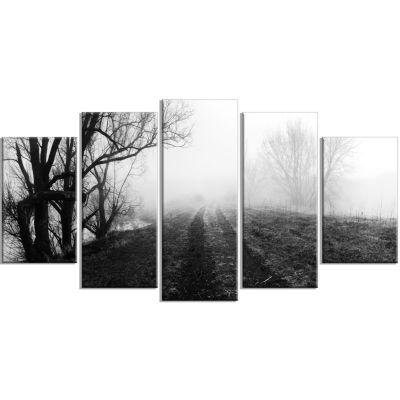 Designart Black And White Misty Landscape PanoramaLandscape Canvas Art Print - 5 Panels