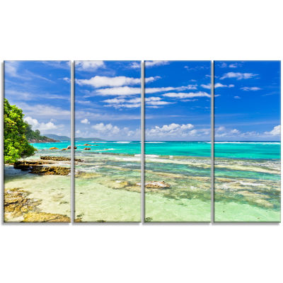 Design Art Tranquil Seychelles Tropical Beach Modern Seascape Canvas Artwork - 4 Panels