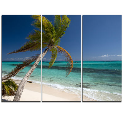 Designart Palm Bent To Picturesque Seashore ModernCanvas Artwork - 3 Panels
