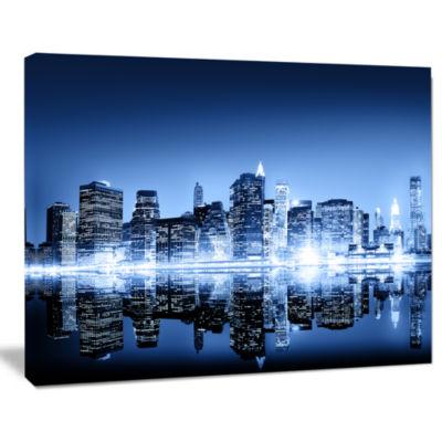 Design Art Night New York City Mirrored Cityscape Canvas Art Print