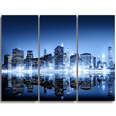 Designart Night New York City Mirrored Cityscape Canvas Art Print - 3 Panels