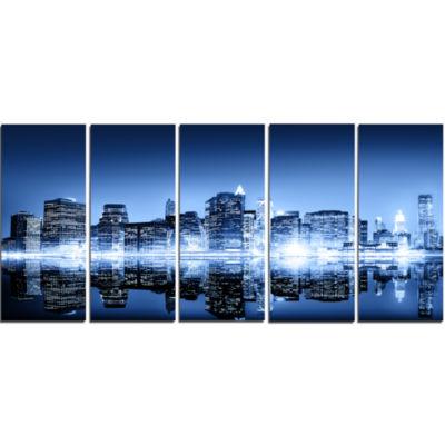 Design Art Night New York City Mirrored Cityscape Canvas Art Print - 5 Panels