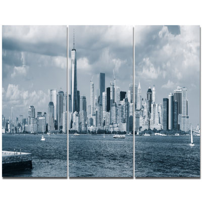 Design Art Lower Manhattan Panorama Black White Cityscape Canvas Art Print - 3 Panels