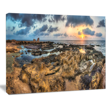 Design Art Rocky African Seashore Panorama Beach Canvas Artwork