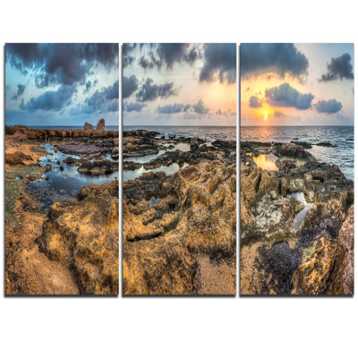 Designart Rocky African Seashore Panorama Beach Canvas Artwork - 3 Panels