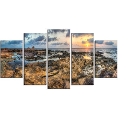 Designart Rocky African Seashore Panorama Beach Canvas Artwork - 5 Panels