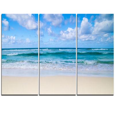 Design Art Serene Blue Tropical Beach Seashore Canvas Print - 3 Panels