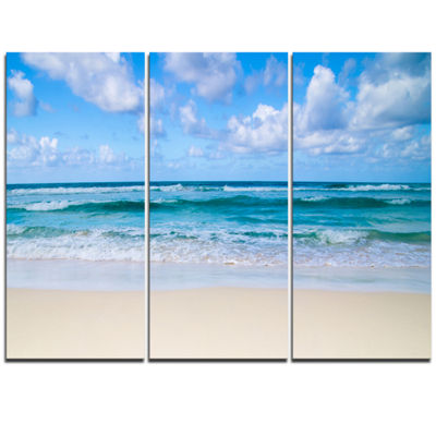 Designart Serene Blue Tropical Beach Seashore Canvas Print - 3 Panels