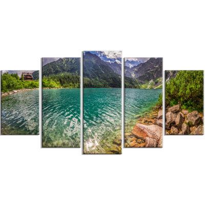 Designart Lake In Tatra Mountains Poland SeashoreCanvas Art - 5 Panels