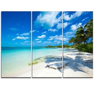 Design Art Tropical Beach With Palm Shadows Seashore Canvas Print - 3 Panels