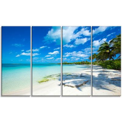 Design Art Tropical Beach With Palm Shadows Seashore Canvas Print - 4 Panels