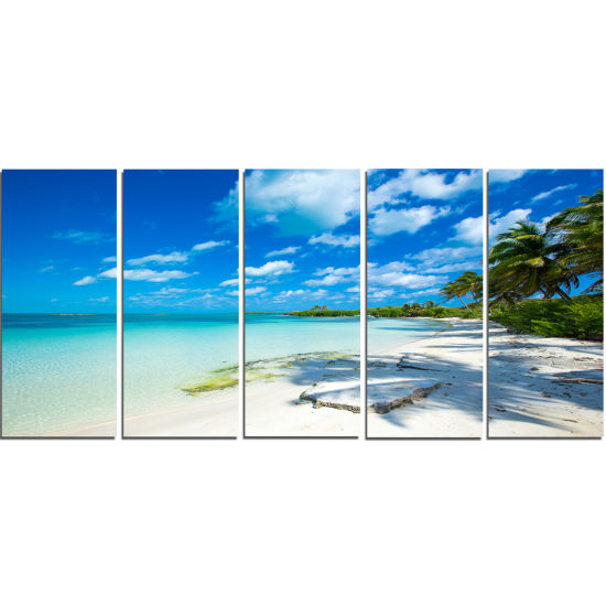 Designart Tropical Beach With Palm Shadows Seashore Canvas Print - 5 Panels