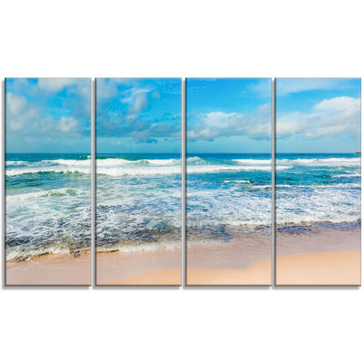 Design Art Indian Ocean Panoramic View Seashore Canvas Art - 4 Panels