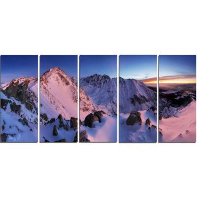 Design Art Slovakia Tatras Winter Mountains Landscape Canvas Art Print - 5 Panels