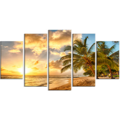 Designart Gorgeous Beach Of Island Barbados ModernSeascape Canvas Artwork - 5 Panels