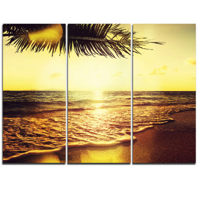 Designart Clear Yellow Tropical Coastline SeashoreCanvas Print - 3 Panels