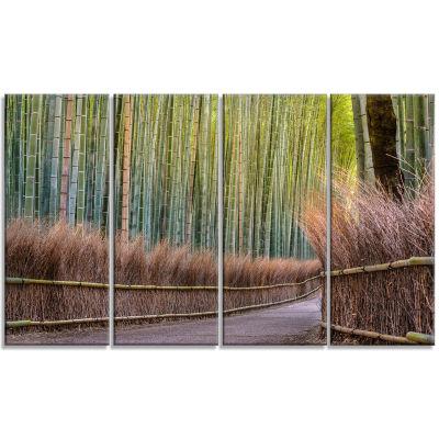 Designart Pathway Inside Bamboo Forest Canvas WallArt Print - 4 Panels