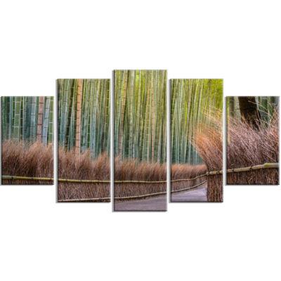 Designart Pathway Inside Bamboo Forest Canvas WallArt Print - 5 Panels