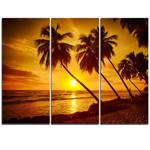 Designart Beach Sunset In Island Barbados Modern Seascape Canvas Artwork - 3 Panels