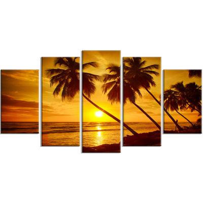 Design Art Beach Sunset In Island Barbados Modern Seascape Canvas Artwork - 5 Panels