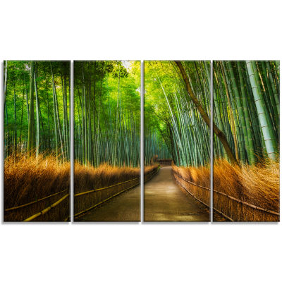 Designart Arashiyama Bamboo Grove Japan Forest Canvas Artwork - 4 Panels