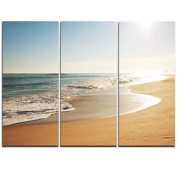 Design Art Wide Seashore With Crystal Waters Modern Beach Canvas Art Print - 3 Panels